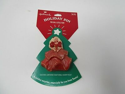 1998 Hallmark Christmas Pin Happy Holiday Brbie Red Dress