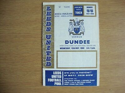1968 Leeds United v Dundee United - Inter Cities Fairs Cup Semi Final