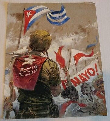 1961 Original Watercolor by Artist Mario Sandoval May Day at Plaza de la Revoluc