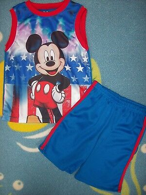 Mickey Mouse Short Set 2pc Boys 2T 5Toddler Disney Stars and Stripes New