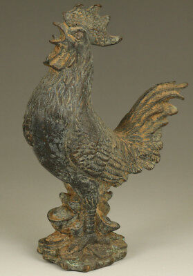 Rare Collection old bronze hand carving coins cock statue blessing decoration
