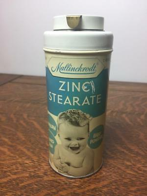 Vintage Mallinckrodt ZINC STEARATE Toilet Talc SMILING BABY Powder Tin Litho Can