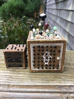 Antique Pin Cushion Cubes 1 Small 1 Large Hat Sewing Lots Of Glass Head Pins
