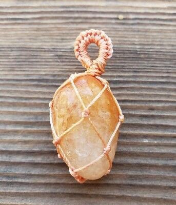 Golden Quartz Netted (Macrame) Tumbled Stone Pendant Gemstone