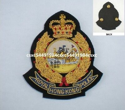 Collectible Royal Hong Kong Police Bullion Crest badge w/butterfly clutch