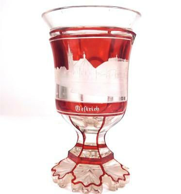 ANTIQUE BOHEMIAN RUBY CUT TO CLEAR SPA GLASS CHALICE - OESTRICH-WiNKEL