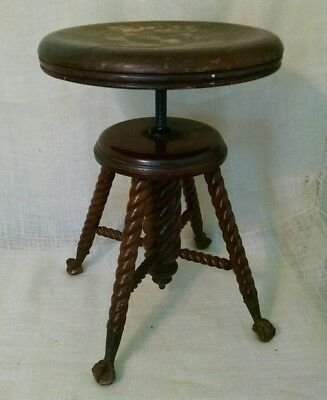 Antique Piano Stool Ball Claw Feet Swivel Round Wooden Seat