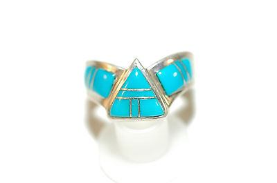 Beautiful 11 stone Turquoise inlay Ladies Ring Sleeping Beauty Sterling SIlver
