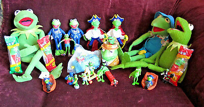 Nice Collection Of Various Kermit The Frog Muppet Dolls & Toys