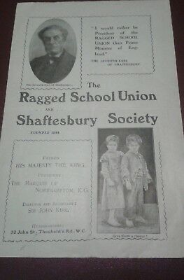 The Ragged School Union and Shaftesbury Society Leaflet Vintage est 1844