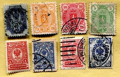 Finland Russian Empire  8 stamps