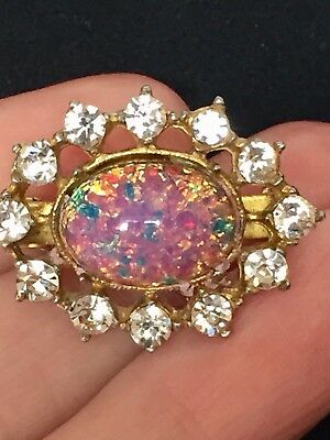 Vintage Art Deco Faux Fire Opal Dragons Breath Glass Brooch