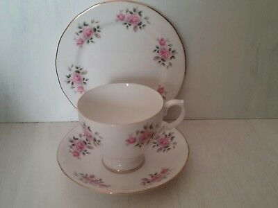 Stunning Vintage Bone China Trio Roses China Staffordshire England Teacup Set