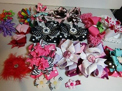 Large Lot of Handmade Boutique Bows, Barrettes & Headbands Girls Toddler