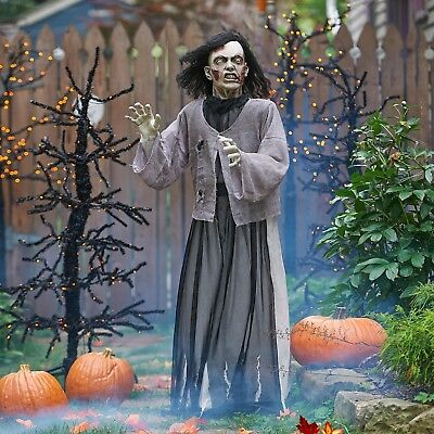 Animated Lady Zombie Life Size Outdoor Halloween Graveyard Yard Decoration Prop