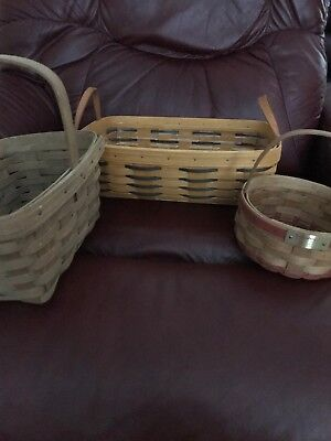 longaberger baskets lot Of 3