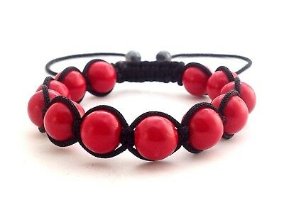 Womens Red Coral Beaded Casual Resort Wear Adjustable Shamballa Jewelry Bracelet