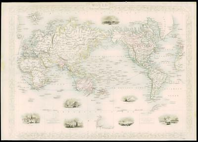 """1850 RARE Antique Map """"THE WORLD ON MERCATOR'S PROJECTION by Tallis (231d)"""