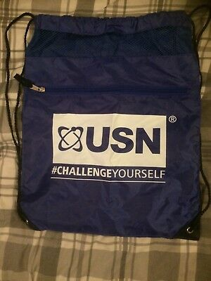 USN Drawstring Gym Bag Royal Blue with White Logo And Zipped Front Pocket