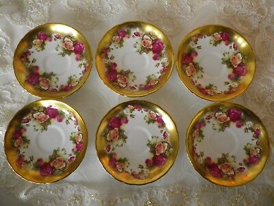 """Vintage Royal Chelsea """"Golden Rose""""  6 Saucers, 1st Quality, Very Good Cond."""