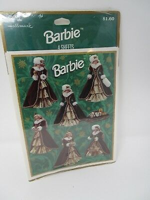 1996 Hallmark Happy Holidays Christmas Barbie Stickers Red Velvet Dress NEW NOS