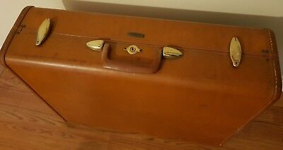 "Vintage Shwayder Samsonite Luggage Travel Suitcase Light Brown 24""W 19""H x 8""D"