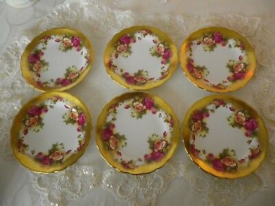"""Vintage Royal Chelsea """"Golden Rose""""  6 Side Plates, 1st Quality, Very Good Cond."""