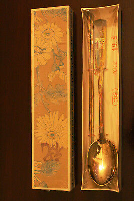 Vintage Chinese Stamped 0.700 Silver Spoon and Chopstick Set - Unused In Box