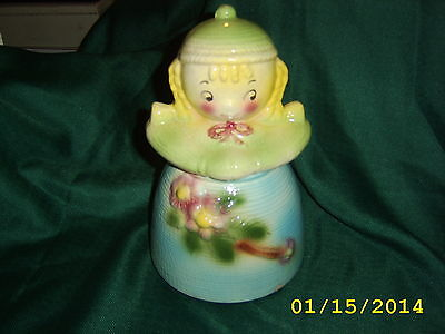 "VINTAGE AMERICAN BISQUE ""BLONDE YARN DOLL"" COOKIE JAR 1950's"