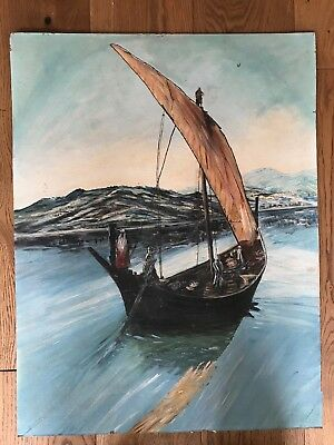LARGE Original oil painting on board of a fishing ship
