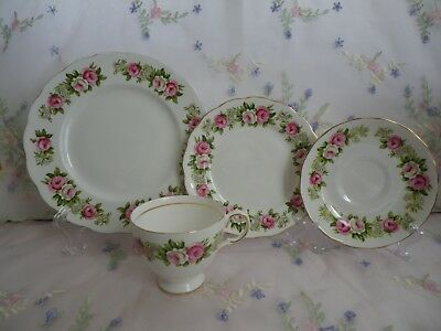 Vintage Colclough Trio & Cake Plate, Pink & White Roses, Good Condition