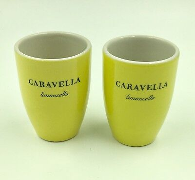 Lot of (2) CARAVELLA LIMONCELLO Lemon Liqueur Ceramic GLASSES Cordial Short Shot