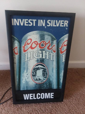 """Vintage Coors Light """"Invest In Silver"""" Lighted Store Advertising Beer Sign Works"""