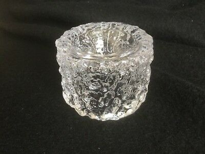 Beautiful Whitefriars candle holder. Clear 'ice' textured glass.