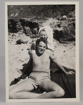 952c67f6b9 Vintage Photo of Cute Couple at Rocky Beach - Man Topless in Bathing Suit