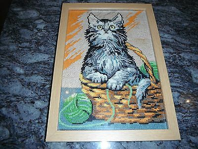VINTAGE NEEDLEPOINT PICTURE OLD CROSS STITCH TABBY KITTEN - Glazed & Framed.