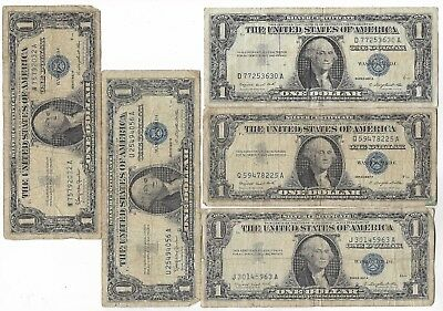 Rare Old US Blue Seal Silver Certificate Dollar Bill Old Vintage Collection Lot