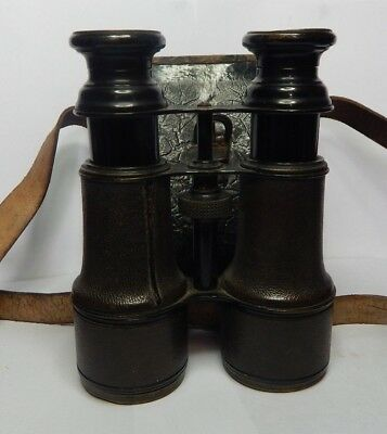 Pair Of early 20th Century Binoculars Green leather possible Military