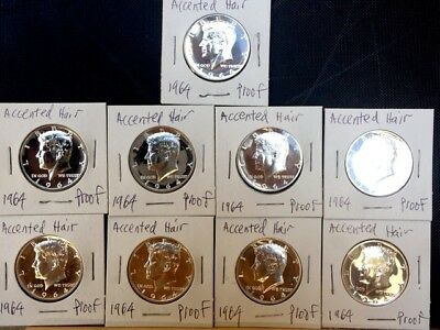 9 1964 Accented Hair Proof Kennedy Half Dollars All 1 bid  *Some spots see pics*