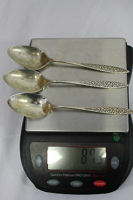 """87.6 gr, Lot of 3 Wallace Spanish Lace Sterling Silver Dinner Spoons. 6.5"""""""