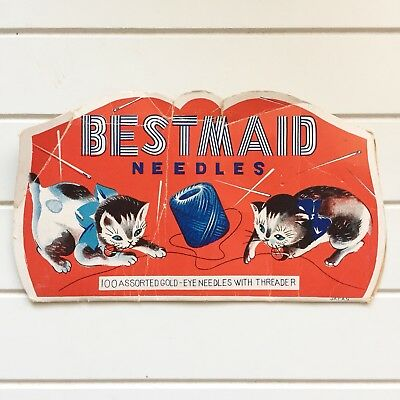 Vintage Bestmaid Sewing Packet Kittens with Yarn Cats Red Blue Gold Eye Needle