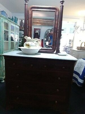 American Classical Empire Flame Mahogany Marble Top Dresser with Mirror
