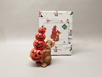 Enesco Charming Tails mouse figurine NIB Halloween Fall Pile on the Smiles
