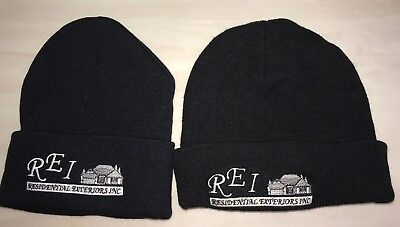 2 mens black KNIT WINTER HATS one size REI RESIDENTIAL EXTERIORS INC super  condi 8e51ac60715