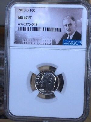 2018-D Roosevelt Dime NGC MS 67 FT * Nice - tough coin in 67FT * *