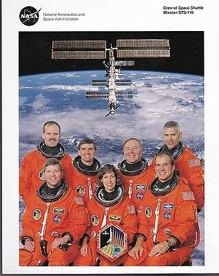 Sts-110 Space Shuttle Crew Photo 8 X 10 Nasa