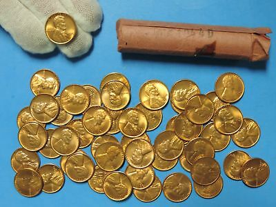 Roll of 1944 D Lincoln Head Wheat Cents 50 Pennies Red RD BU Uncirculated Coins