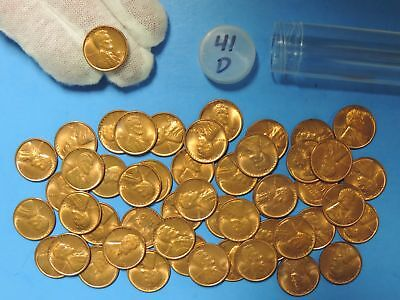 Roll of 1941 D Lincoln Head Wheat Cents 50 Pennies Red RD BU Uncirculated Coins