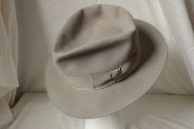 STUNNING Vintage 50's ROYAL DE LUXE STETSON FEDORA, Beige, 7 1/8th