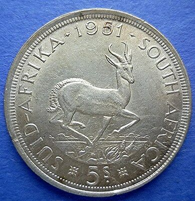 1951 South Africa - 5 Shilings - Antelope Springbok - Unc Silver Crown - Beauty!